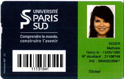 numéro ine carte étudiant Préinscription à l'université Paris Sud